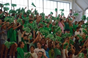 Middle school students at whole school spirit day.