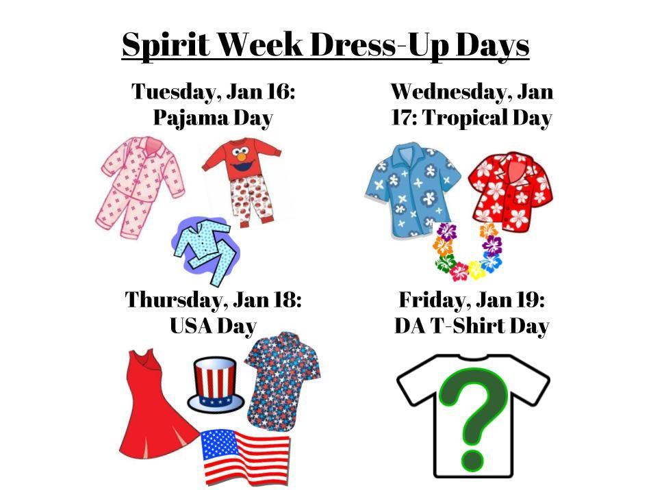 Spirit Week Dress Up Days 2018! – The DA Middle School Student Council